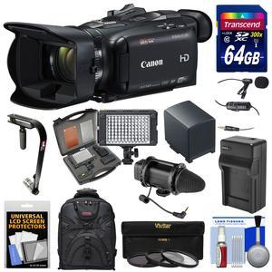 Canon Vixia HF G40 Wi-Fi 1080p HD Digital Video Camcorder with 64GB Card and Battery and Charger and Backpack and Stabilizer and LED Light and 2 Microphones Kit