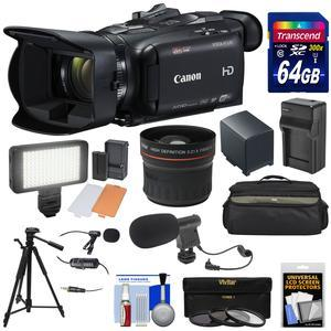 Canon Vixia HF G40 Wi-Fi 1080p HD Digital Video Camcorder with 64GB Card + Battery and Charger + Case + LED + Microphones + Tripod + Fisheye Lens Kit