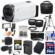 Canon Vixia HF R700 1080p HD Video Camcorder (White) with 64GB Card + Battery & Charger + Case + Tripod + LED Light + Mic + Tele/Wide Lens Kit