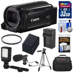 Canon Vixia HF R70 16GB Wi-Fi 1080p HD Video Camcorder with 32GB Card and Battery and Charger and Case and Tripod and LED Light and Microphone and Kit