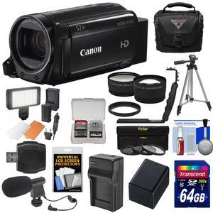 Canon Vixia HF R70 16GB Wi-Fi 1080p HD Video Camcorder with 64GB Card and Battery and Charger and Case and Tripod and LED and Microphone and Tele-Wide Lens Kit