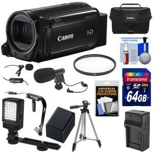 Canon Vixia HF R72 32GB Wi-Fi 1080p HD Video Camcorder and 64GB Card and Battery-Charger and Case and Tripod and Stabilizer and LED Light and 2 Microphones Kit