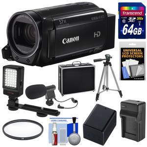 Canon Vixia HF R72 32GB Wi-Fi 1080p HD Video Camcorder with 64GB Card + Battery and Charger + Hard Case + Tripod + LED Light + Microphone + Kit