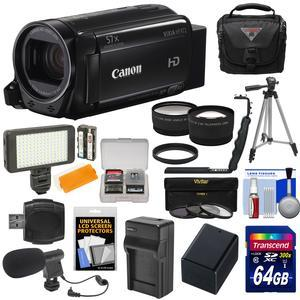 Canon Vixia HF R72 32GB Wi-Fi 1080p HD Video Camcorder with 64GB Card and Battery and Charger and Case and Tripod and LED and Microphone and Tele-Wide Lens Kit