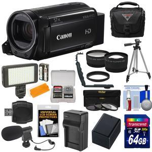 Canon Vixia HF R72 32GB Wi-Fi 1080p HD Video Camcorder with 64GB Card + Battery and Charger + Case + Tripod + LED + Microphone + Tele-Wide Lens Kit