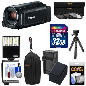 Canon Vixia HF R800 1080p HD Video Camera Camcorder - Black - with 32GB Card + Battery and Charger + Case + 3 UV-CPL-ND8 Filters + LED Light + Tripod Kit