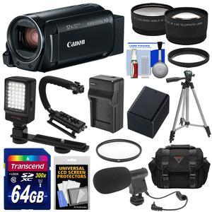 Canon Vixia HF R800 1080p HD Video Camera Camcorder - Black - with 64GB Card + Battery and Charger + Case + Tripod + Stabilizer + LED + Mic + 2 Lens Kit
