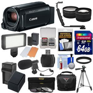 Canon Vixia HF R800 1080p HD Video Camera Camcorder - Black - with 64GB Card + Battery and Charger + Case + Tripod + 3 Filters + LED + Mic + 2 Lens Kit