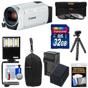 Canon Vixia HF R800 1080p HD Video Camera Camcorder - White - with 32GB Card + Battery and Charger + Case + 3 UV-CPL-ND8 Filters + LED Light + Tripod Kit