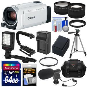 Canon Vixia HF R800 1080p HD Video Camera Camcorder - White - with 64GB Card + Battery and Charger + Case + Tripod + Stabilizer + LED + Mic + 2 Lens Kit
