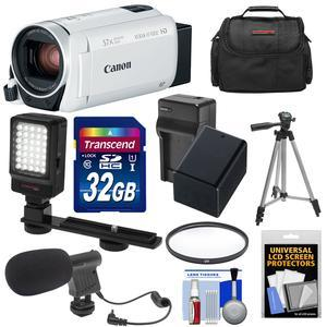 Canon Vixia HF R800 1080p HD Video Camera Camcorder - White - with 32GB Card + Battery and Charger + Case + Filter + Tripod + LED Light + Microphone + Kit