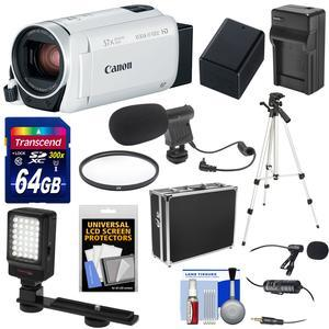 Canon Vixia HF R800 1080p HD Video Camera Camcorder - White - with 64GB Card + Battery and Charger + Hard Case + Tripod + LED Light + 2 Microphones + Kit