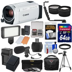 Canon Vixia HF R800 1080p HD Video Camera Camcorder - White - with 64GB Card + Battery and Charger + Case + Tripod + 3 Filters + LED + Mic + 2 Lens Kit