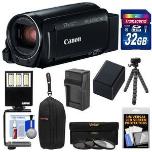 Canon Vixia HF R80 16GB Wi-Fi 1080p HD Video Camera Camcorder with 32GB Card + Battery and Charger + Case + 3 UV-CPL-ND8 Filters + LED Light + Tripod Kit