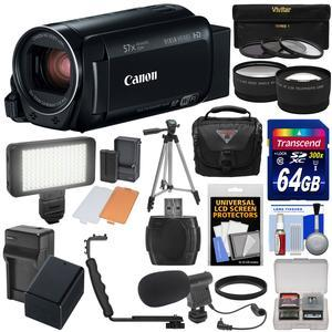 Canon Vixia HF R80 16GB Wi-Fi 1080p HD Video Camera Camcorder with 64GB Card + Battery and Charger + Case + Tripod + 3 Filters + LED + Mic + 2 Lens Kit