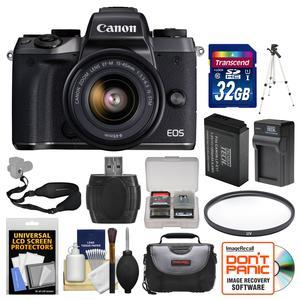 Canon EOS M5 Wi-Fi Digital ILC Camera and EF-M 15-45mm IS STM Lens with 32GB Card and Case and Battery and Charger and Tripod and Filter and Strap and Kit