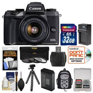 Canon EOS M5 Wi-Fi Digital ILC Camera and EF-M 15-45mm IS STM Lens with 32GB Card and Backpack and Battery and Charger and Flex Tripod and 3 Filters and Kit