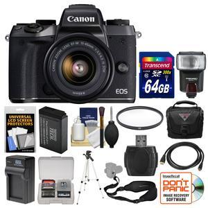 Canon EOS M5 Wi-Fi Digital ILC Camera and EF-M 15-45mm IS STM Lens with 64GB Card and Case and Flash and Battery and Charger and Remote and Kit