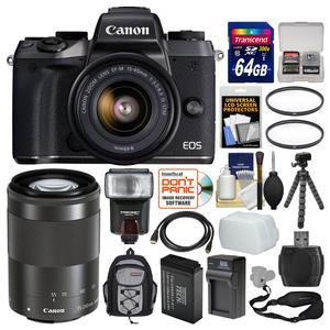Canon EOS M5 Wi-Fi Digital ILC Camera and EF-M 15-45mm IS STM Lens with 55-200mm Lens and 64GB Card and Backpack and Flash and Battery and Charger and Tripod and Kit