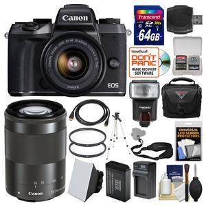 Canon EOS M5 Wi-Fi Digital ILC Camera and EF-M 15-45mm IS STM Lens with 55-200mm Lens and 64GB Card and Case and Flash and Battery and Charger and Tripod and Filters and Kit