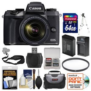 Canon EOS M5 Wi-Fi Digital ILC Camera and EF-M 18-150mm IS STM Lens with 64GB Card + Case + Battery and Charger + Tripod + Filter + Strap + Kit
