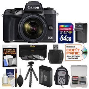 Canon EOS M5 Wi-Fi Digital ILC Camera and EF-M 18-150mm IS STM Lens with 64GB Card + Case + Battery and Charger + Tripod + 3 Filters + Kit