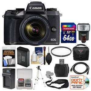 Canon EOS M5 Wi-Fi Digital ILC Camera and EF-M 18-150mm IS STM Lens with 64GB Card + Case + Flash + Battery and Charger + Tripod + Kit