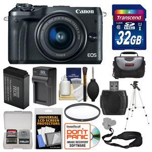 Canon EOS M6 Wi-Fi Digital ILC Camera and EF-M 15-45mm IS STM Lens - Black - with 32GB Card + Case + Battery and Charger + Tripod + UV Filter + Sling Strap + Kit