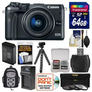 Canon EOS M6 Wi-Fi Digital ILC Camera and EF-M 15-45mm IS STM Lens - Black - with 64GB Card + Backpack + Battery and Charger + Tripod + 3 UV-CPL-ND8 Filters + Kit