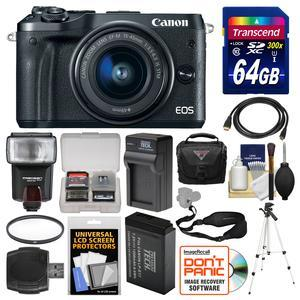 Canon EOS M6 Wi-Fi Digital ILC Camera and EF-M 15-45mm IS STM Lens - Black - with 64GB Card + Case + Flash + Battery and Charger + Tripod + UV Filter + Sling Strap + Kit
