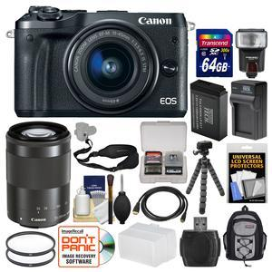 Canon EOS M6 Wi-Fi Digital ILC Camera and EF-M 15-45mm IS STM Lens - Black - with 55-200mm Lens + 64GB Card + Backpack + Flash + Battery and Charger + Tripod + Kit