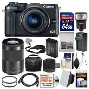 Canon EOS M6 Wi-Fi Digital ILC Camera and EF-M 15-45mm IS STM Lens - Black - with 55-200mm Lens + 64GB Card + Case + Flash + Battery and Charger + Tripod + Filters + Kit