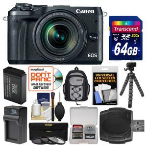 Canon EOS M6 Wi-Fi Digital ILC Camera and EF-M 18-150mm IS STM Lens - Black - with 64GB Card + Backpack + Battery and Charger + Tripod + 3 UV-CPL-ND8 Filters + Kit