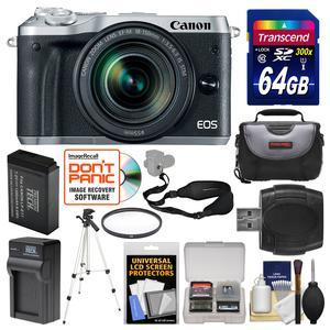 Canon EOS M6 Wi-Fi Digital ILC Camera and EF-M 18-150mm IS STM Lens - Silver - with 64GB Card + Case + Battery and Charger + Tripod + UV Filter + Sling Strap + Kit