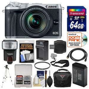 Canon EOS M6 Wi-Fi Digital ILC Camera and EF-M 18-150mm IS STM Lens - Silver - with 64GB Card + Case + Flash + Battery and Charger + Tripod + UV Filter + Kit