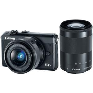 Canon EOS M100 Wi-Fi Digital ILC Camera and EF-M 15-45mm and 55-200mm IS STM Lens - Black -
