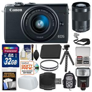 Canon EOS M100 Wi-Fi Digital ILC Camera and EF-M 15-45mm and 55-200mm IS STM Lens - Black - with 32GB Card + Backpack + Flash + Diffuser + Battery + Flex Tripod + Filters + Kit