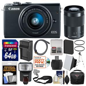 Canon EOS M100 Wi-Fi Digital ILC Camera and EF-M 15-45mm and 55-200mm IS STM Lens - Black - with 64GB Card + Case + Flash + Soft Box + Battery and Charger + Tripod + Filters + Kit