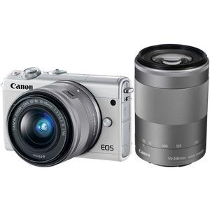 Canon EOS M100 Wi-Fi Digital ILC Camera and EF-M 15-45mm and 55-200mm IS STM Lens - White -