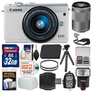 Canon EOS M100 Wi-Fi Digital ILC Camera and EF-M 15-45mm and 55-200mm IS STM Lens - White - with 32GB Card + Backpack + Flash + Diffuser + Battery + Flex Tripod + Filters + Kit