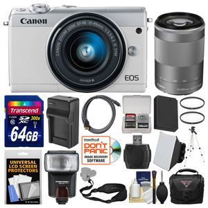 Canon EOS M100 Wi-Fi Digital ILC Camera and EF-M 15-45mm and 55-200mm IS STM Lens - White - with 64GB Card + Case + Flash + Soft Box + Battery and Charger + Tripod + Filters + Kit