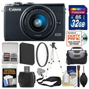 Canon EOS M100 Wi-Fi Digital ILC Camera and EF-M 15-45mm IS STM Lens - Black - with 32GB Card + Case + Battery + Tripod + Filter + Sling Strap + Kit