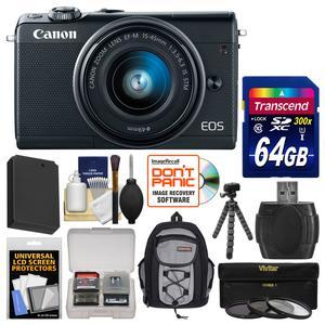 Canon EOS M100 Wi-Fi Digital ILC Camera and EF-M 15-45mm IS STM Lens - Black - with 64GB Card + Backpack + Battery + Flex Tripod + 3 UV-CPL-ND8 Filters + Kit
