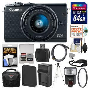 Canon EOS M100 Wi-Fi Digital ILC Camera and EF-M 15-45mm IS STM Lens - Black - with 64GB Card + Case + Flash + Battery and Charger + Tripod + Filter + Sling Strap + Kit