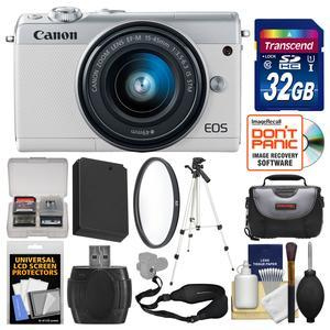 Canon EOS M100 Wi-Fi Digital ILC Camera and EF-M 15-45mm IS STM Lens - White - with 32GB Card + Case + Battery + Tripod + Filter + Sling Strap + Kit
