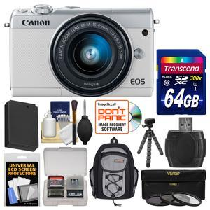 Canon EOS M100 Wi-Fi Digital ILC Camera and EF-M 15-45mm IS STM Lens - White - with 64GB Card + Backpack + Battery + Flex Tripod + 3 UV-CPL-ND8 Filters + Kit
