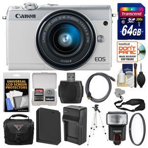 Canon EOS M100 Wi-Fi Digital ILC Camera and EF-M 15-45mm IS STM Lens - White - with 64GB Card + Case + Flash + Battery and Charger + Tripod + Filter + Sling Strap + Kit