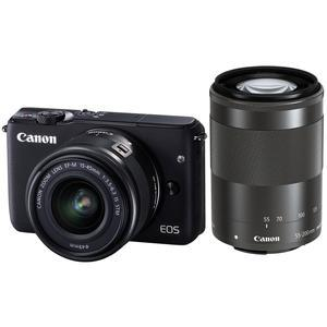 Canon EOS M10 Wi-Fi Digital ILC Camera with EF-M 15-45mm and 55-200mm IS STM Lens-Black -