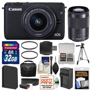 Canon EOS M10 Wi-Fi Digital ILC Camera with EF-M 15-45mm and 55-200mm IS STM Lens-Black-and 32GB Card and Case and Battery and Charger and Tripod and Filters and Strap and Kit