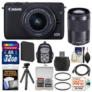 Canon EOS M10 Wi-Fi Digital ILC Camera with EF-M 15-45mm and 55-200mm IS STM Lens-Black-and 32GB Card and Backpack and Battery and Flex Tripod and Filters and Kit